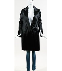 collection black satin belted long coat