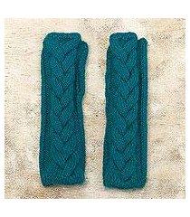 alpaca blend fingerless mittens, 'turquoise teal braid' (peru)