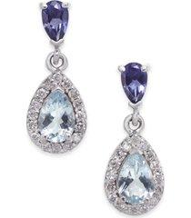 aquamarine, iolite and diamond (1-1/10 ct. t.w.) drop earrings in 14k white gold