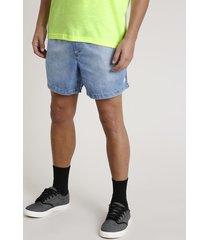 short jeans masculino com bolsos azul médio