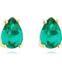 brinco gota cristal esmeralda banhado a ouro 18k - verde - feminino - dafiti