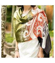 silk batik shawl, 'ocean sunset' (thailand)