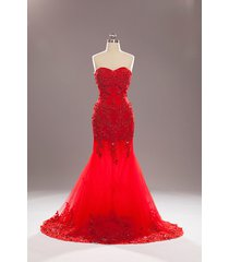 elegant long mermaid red prom dresses tulle beaded celebrity dress evening gown