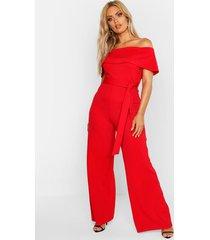 plus off shoulder wide leg self belt jumpsuit, red