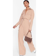 womens put your back into it utility belted jumpsuit - stone