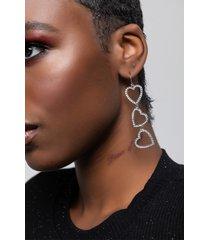 akira heart rhinestone dangle earring