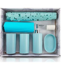 kit banheiro completo saboneteira tapete porta escovas cortina box azul - tricae