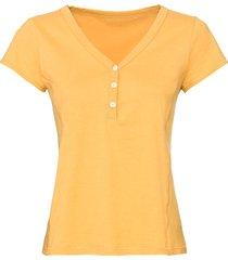 t-shirt van bio-katoen met knopen bij de v-hals, geel 38