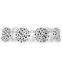 lois hill filigree round link bracelet in sterling silver