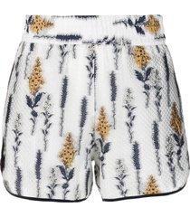 baum und pferdgarten floral-print quilted shorts - white