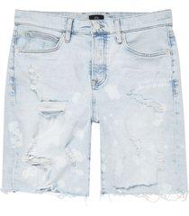 men's river island men's bleach print destroyed stretch denim shorts, size 28 - blue