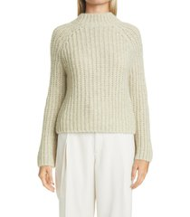 women's vince marled shaker stitch raglan sleeve sweater, size x-small - green