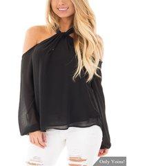 blusa de manga larga con cuello halter y cremallera negra