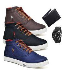kit 3 pares sapatênis polo blu casual café/preto/azul acompanha carteira + relógio