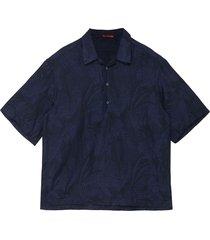 'mola mismas' palm leaf jacquard half button shirt