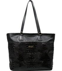 bolsa de couro recuo fashion bag tote preto/croco