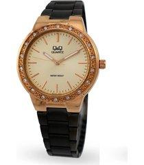 reloj para dama elegante q&q qa27-800y negro