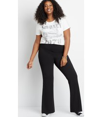 maurices plus size womens high rise black stretch crepe flare pants