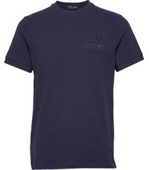 pocket detail polo t-shirts short-sleeved blå fred perry