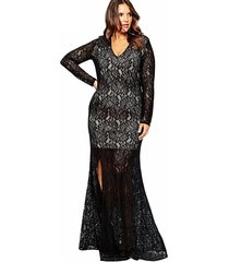 women's plus size v neck lace long evening party bridesmaid long dress nw150