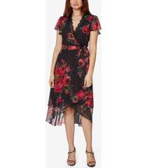 betsey johnson petite chiffon floral-print wrap dress