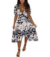 ax paris abstract print wrap midi dress