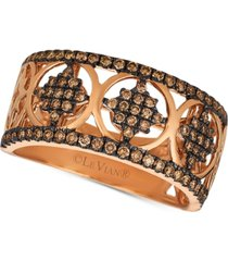 le vian chocolatier chocolate diamond geometric statement ring (1/2 ct. t.w.) in 14k rose gold