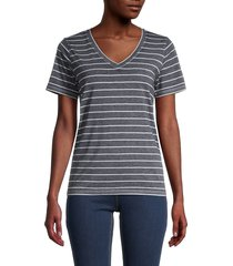 workshop women's striped v-neck top - navy heather - size xs