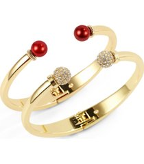 charter club gold-tone 2-pc. set pave fireball & colored imitation pearl cuff bracelets, created for macy's