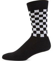paul smith men's checkered crew socks - black