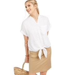 charter club linen tie-front shirt, created for macy's