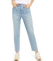 women's madewell curvy super high waist mom jeans, size 24 - blue