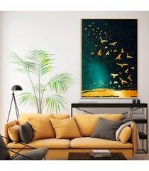 quadro 67x50cm izar pássaros dourados moldura natural com vidro