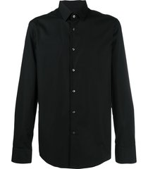 boss hugo boss pointed collar cotton shirt - black