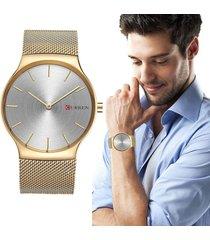 reloj análogo hombre curren cuarzo elegante ultra delgado