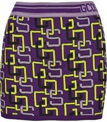 gcds knitted logo mini skirt