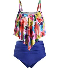 plus size floral flounce high waisted tankini swimwear