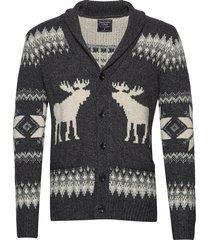 moose shawl gebreide trui cardigan grijs abercrombie & fitch