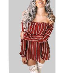 raya roja patrón elástico con hombros descubiertos sexy vestido