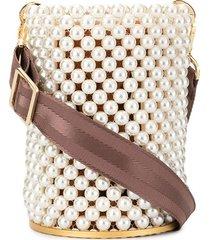 0711 pearl-embellished bucket bag - white