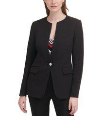 calvin klein x-fit solid single-button collarless blazer