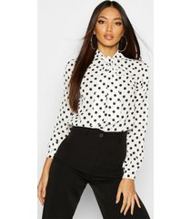 blouse met strik, hoge hals en stippen, wit