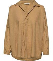cotton placket shirt blouse lange mouwen bruin rabens sal r
