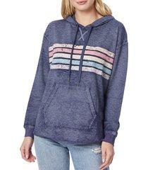 c & c california women's ava striped cotton-blend hoodie - navy - size m