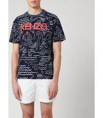kenzo men's all over printed mermaid t-shirt - midnight blue - xxl