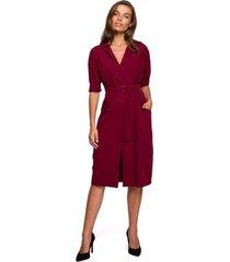 korte jurk style s230 midi overhemdjurk met opgezette zakken - kastanjebruin