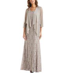 r & m richards embellished lace dress & flyaway jacket