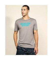 "camiseta masculina esportiva ace never stop running"" manga curta gola careca cinza"""