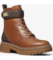 mk stivale combat stark in pelle con logo - cuoio (marrone) - michael kors