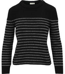 saint laurent metallic striped sweater